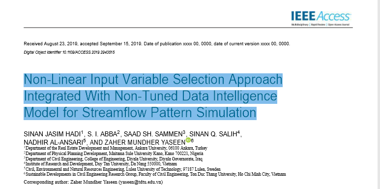 Non-Linear Input Variable Selection Approach Integrated With Non-Tuned Data Intelligence Model for Streamflow Pattern Simulation